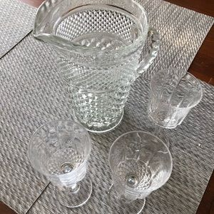Other - Diamond pattern pitcher and goblets